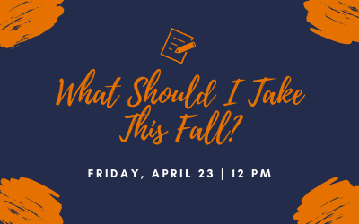 What Should I Take This Fall written in orange on a blue background