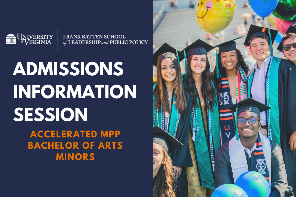 Students in cap and gown with text Admissions Information Session