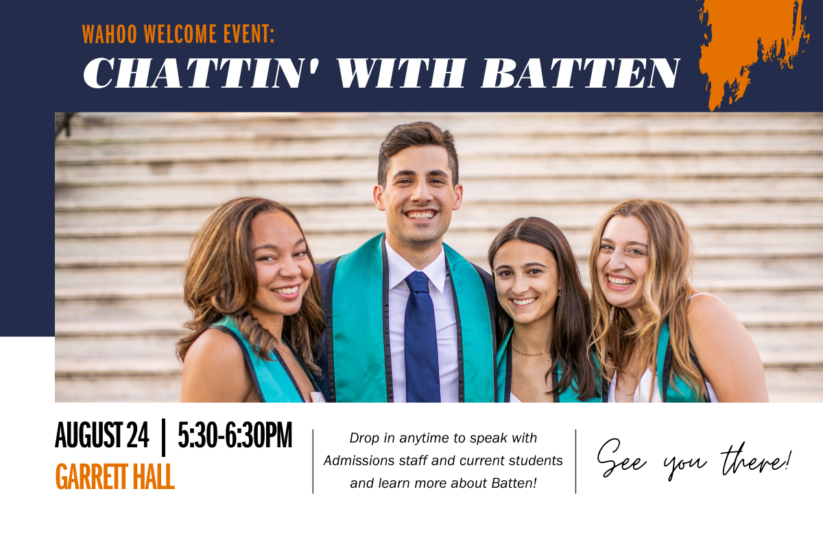 """Students smiling with title """"Chattin' with Batten"""""""
