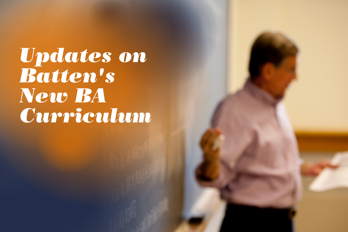 """Professor lecturing class with text overlay """"Updates on Batten's BA Curriculum"""""""