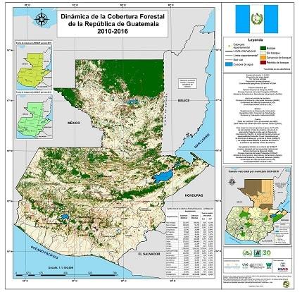 Mapa de cobertura forestal de Guatemala