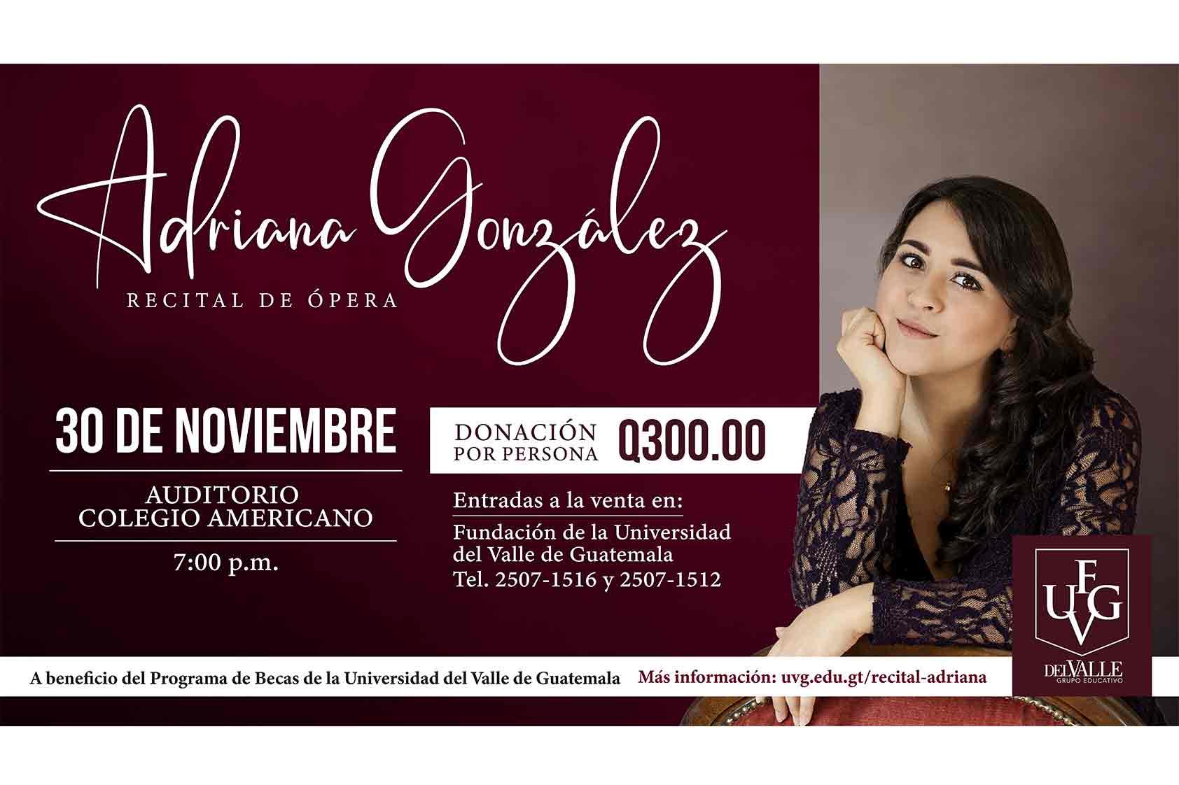 El recital de Adriana González en UVG busca beneficiar a jóvenes talentosos
