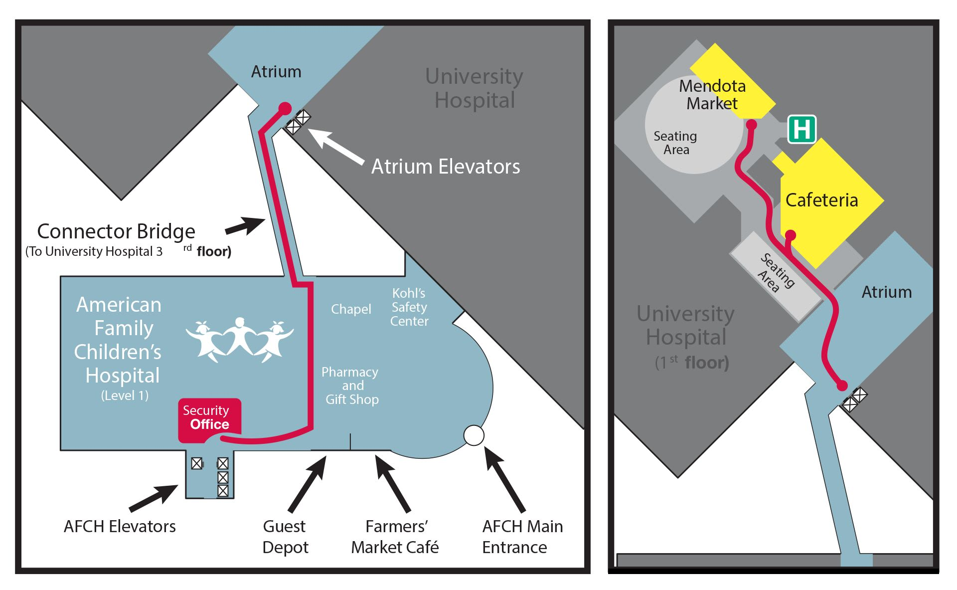 Image of map showing directions to University Hospital from American Family Children's Hospital