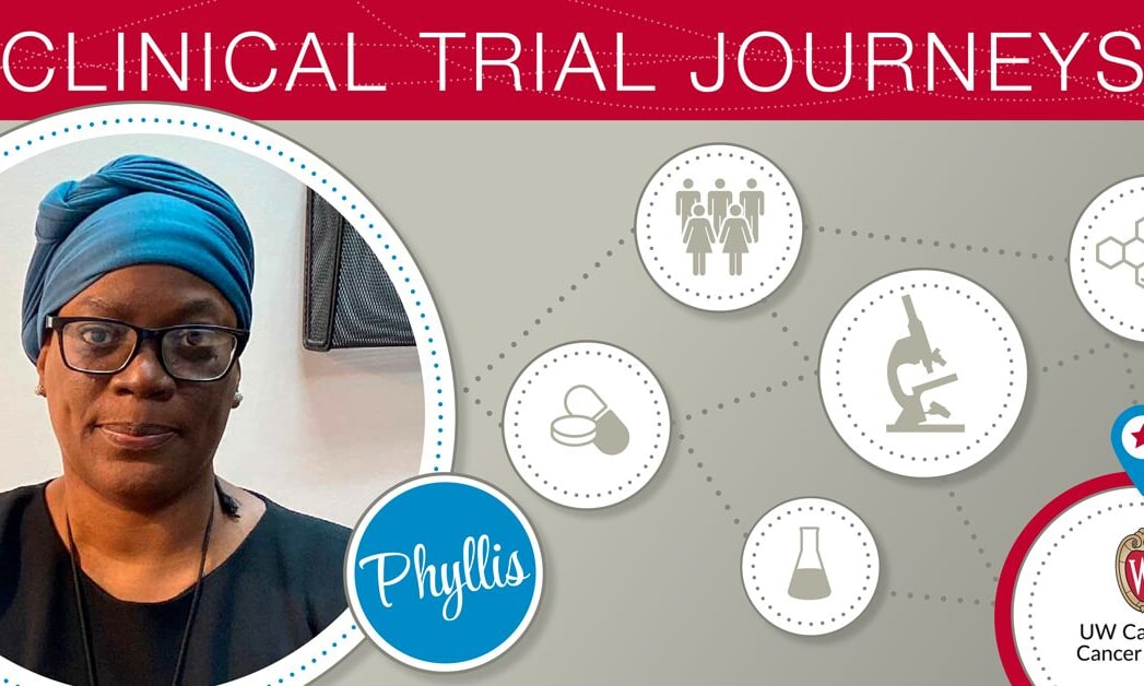 "Picture of woman in a graphic that says ""Clinical Trial Journeys."""