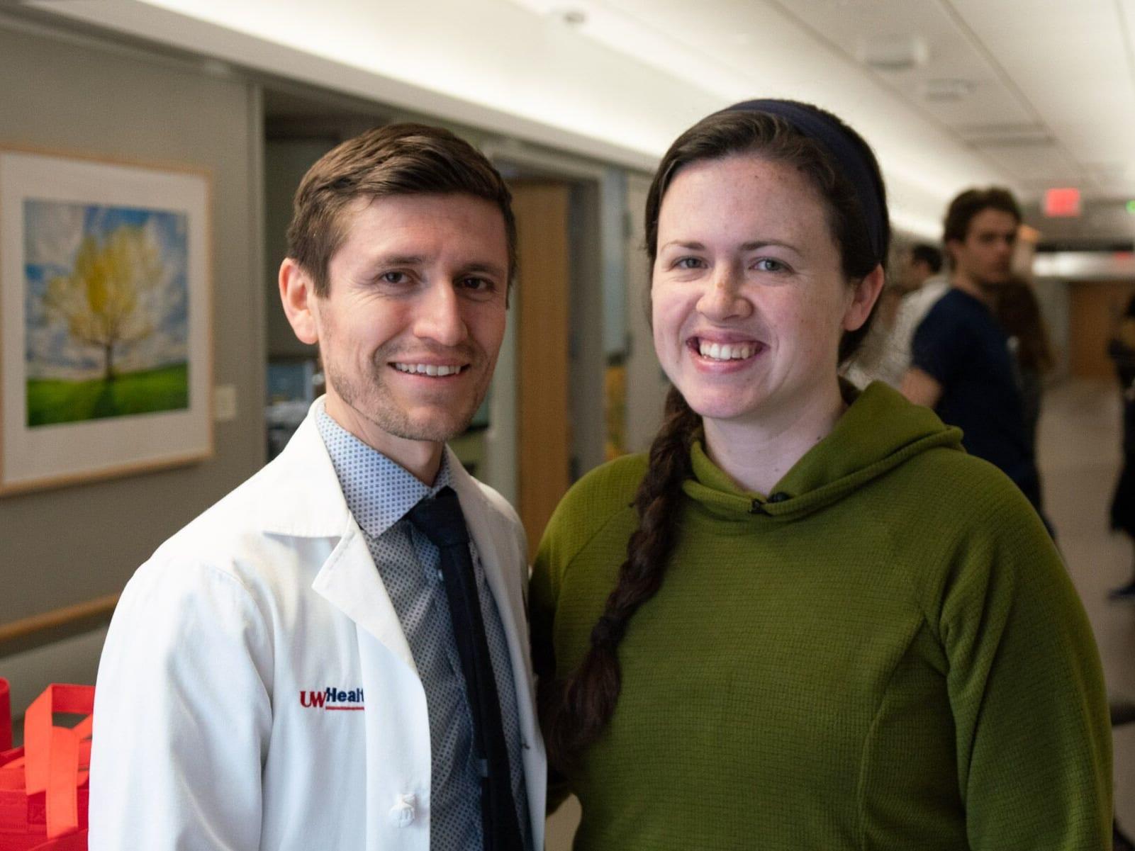 Emily Miller, right, with stroke neurologist Dr. Erik Tarula.
