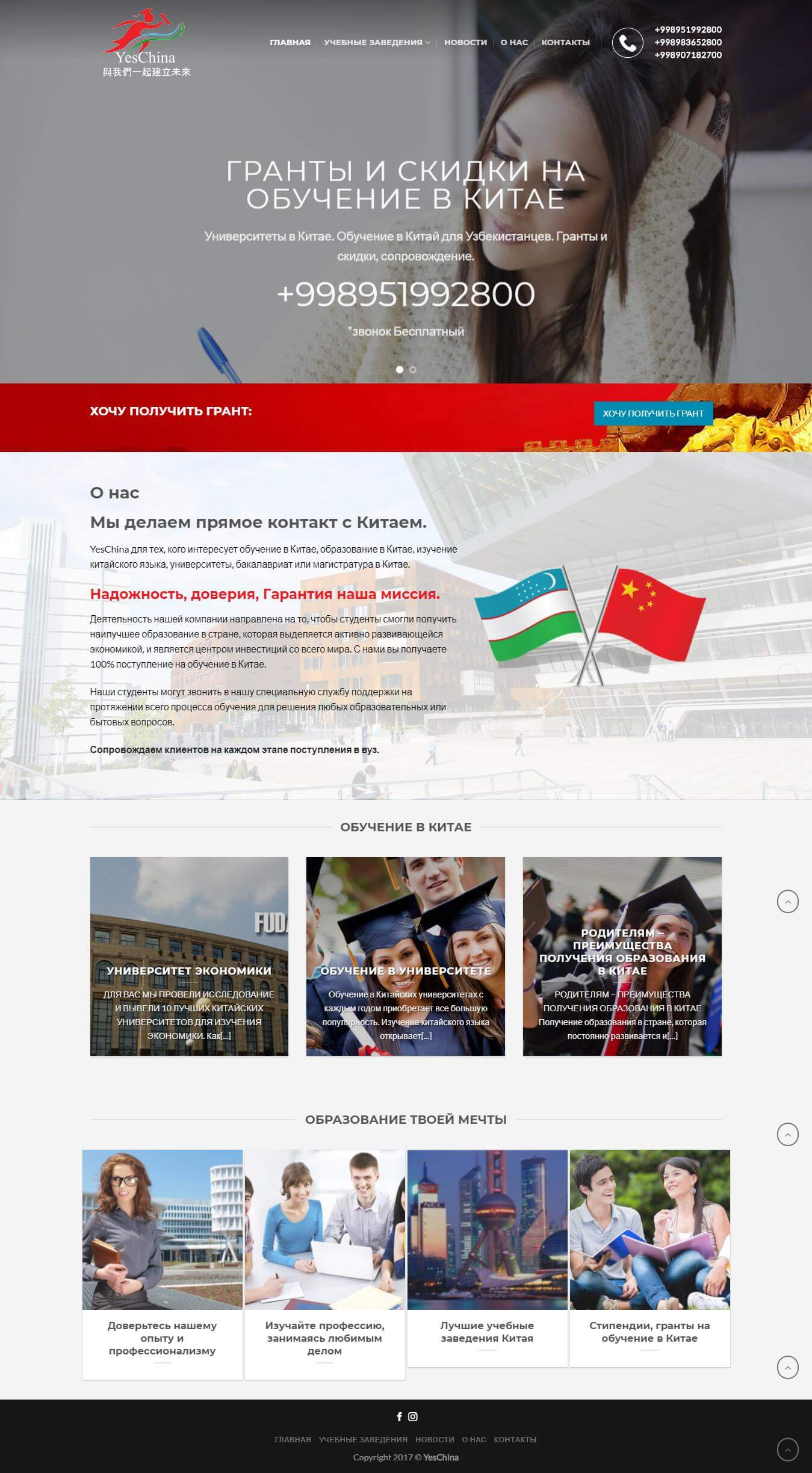 Разработка дизайн сайта и создание сайта для YesChina