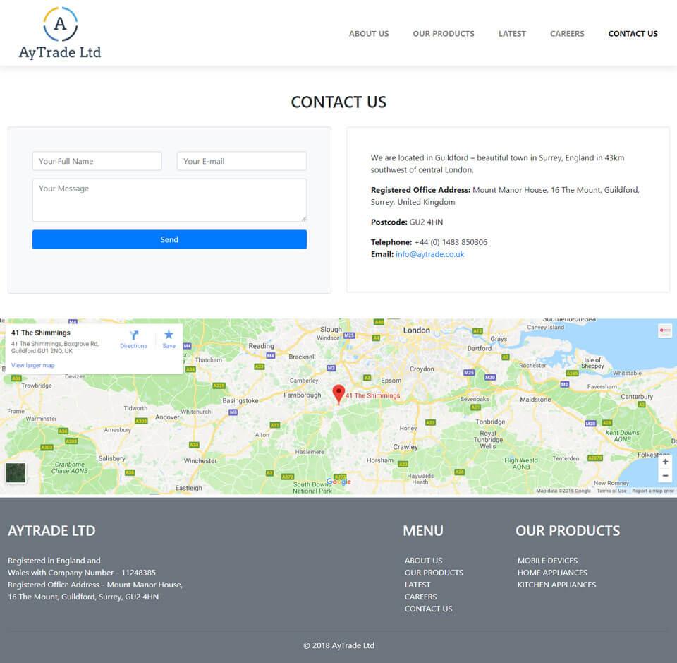 Разработка дизайн сайта и создание сайта для AyTrade Ltd