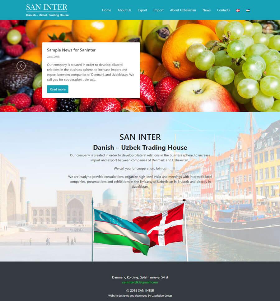 Разработка дизайн сайта и создание сайта для SAN INTER
