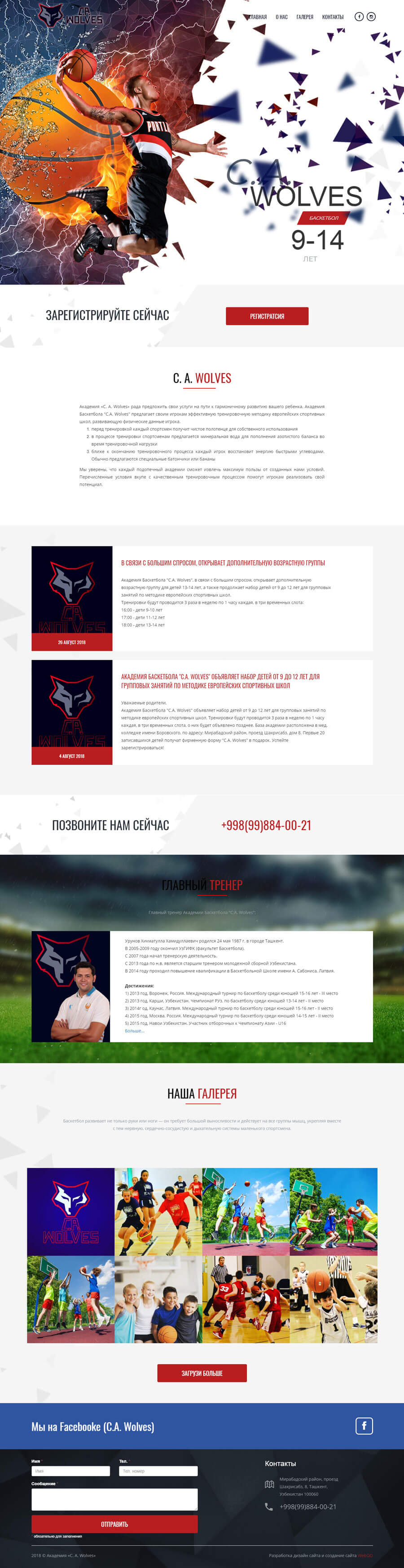 Создание сайта иразработка дизайн сайта в Ташкенте для C. A. Wolves.uz