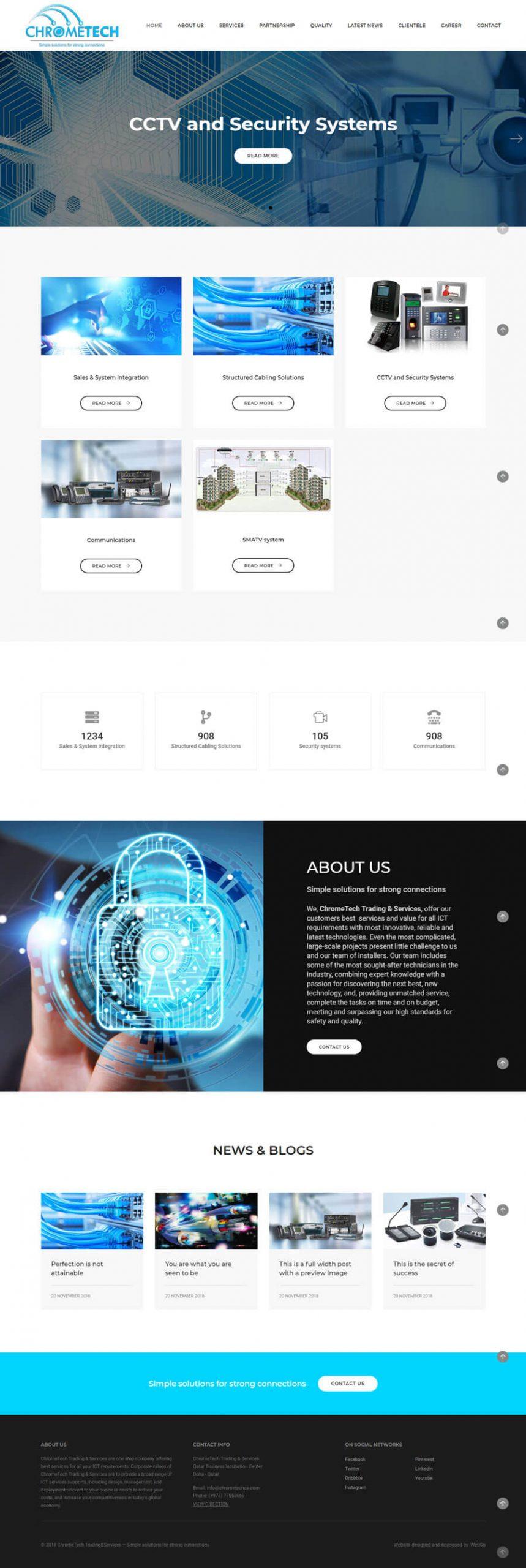Создание сайта иразработка дизайн сайта в Узбекистане для ChromeTech Trading&Services