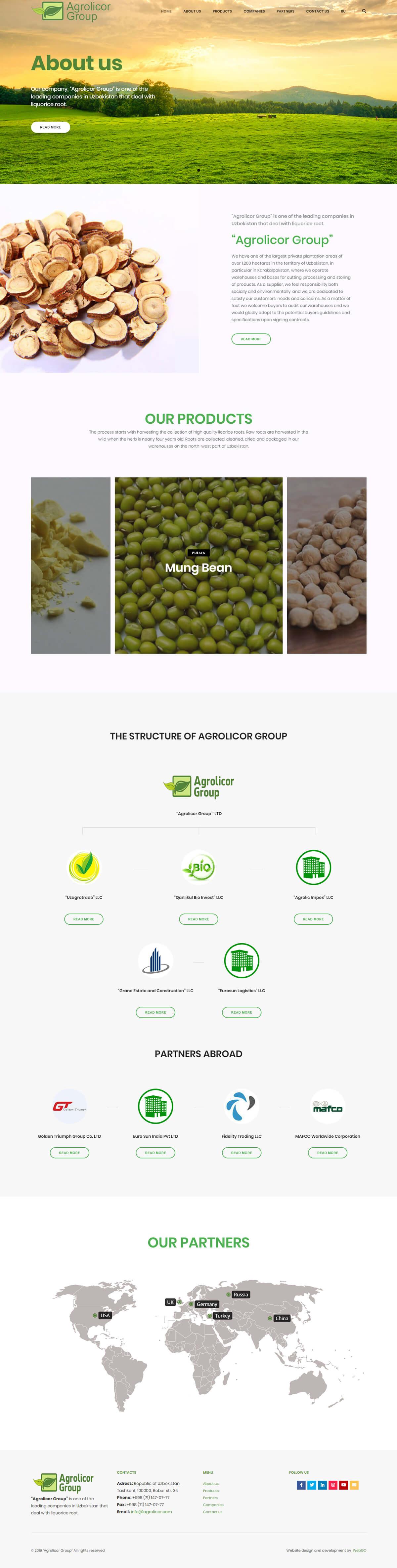 Agrolicor Groupuchun sayt dizayni va sayt tayyorlandi