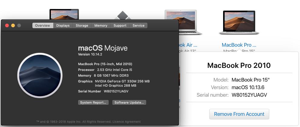 MacBook Pro 2010 running MacOS Mojave 10.14.2