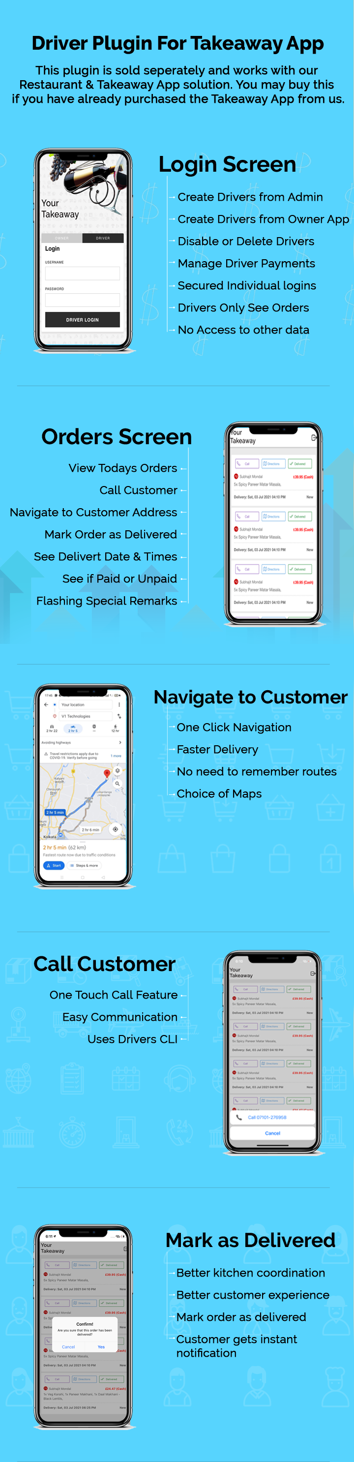 Driver App Login - Drivers can View Orders, Get Directions, Navigate and Mark Order as Delivered - 8