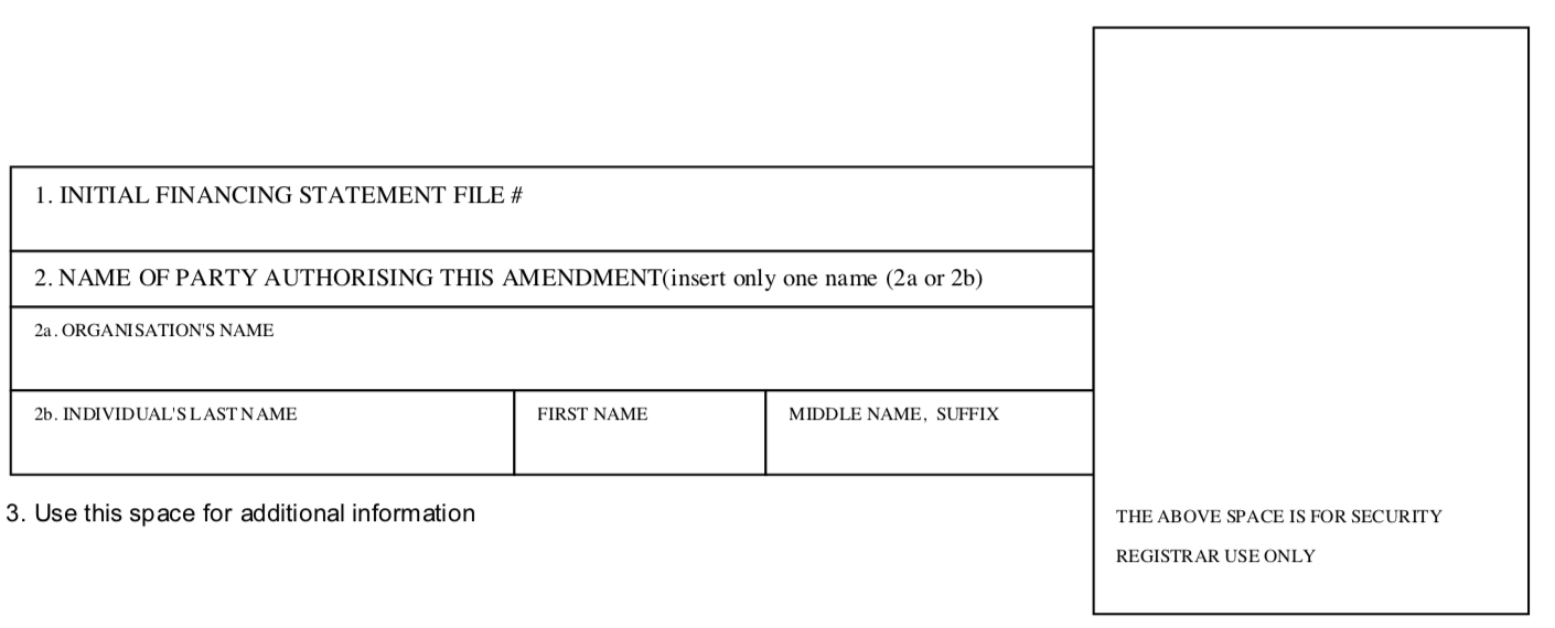 FINANCING STATEMENT AMENDMENT ADDENDUM Form 5