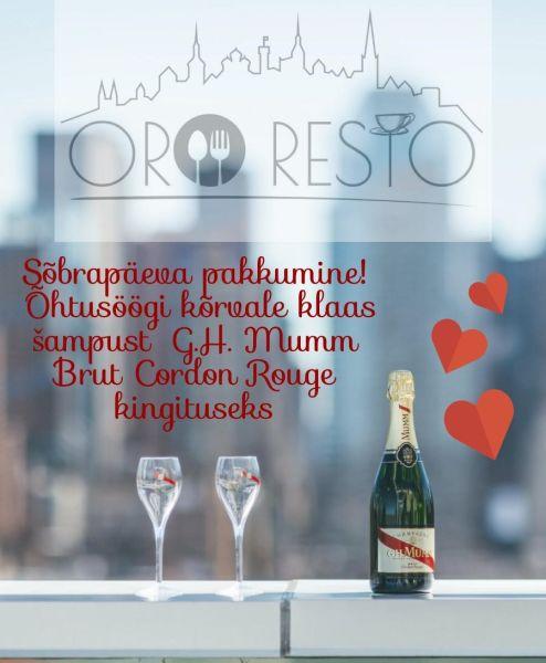 ed4b2ddfa24 Sõbrapäeva eripakkumine restoranis ORO Resto - Reserveeri laud ...