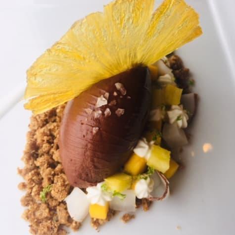"""Banjar"" Crémeux with Tropical Fruits & Almond Crunch"