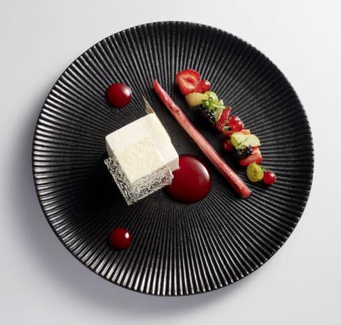 BLANCMANGE with Vanilla, REDBERRIES & CANDIED RHUBARB