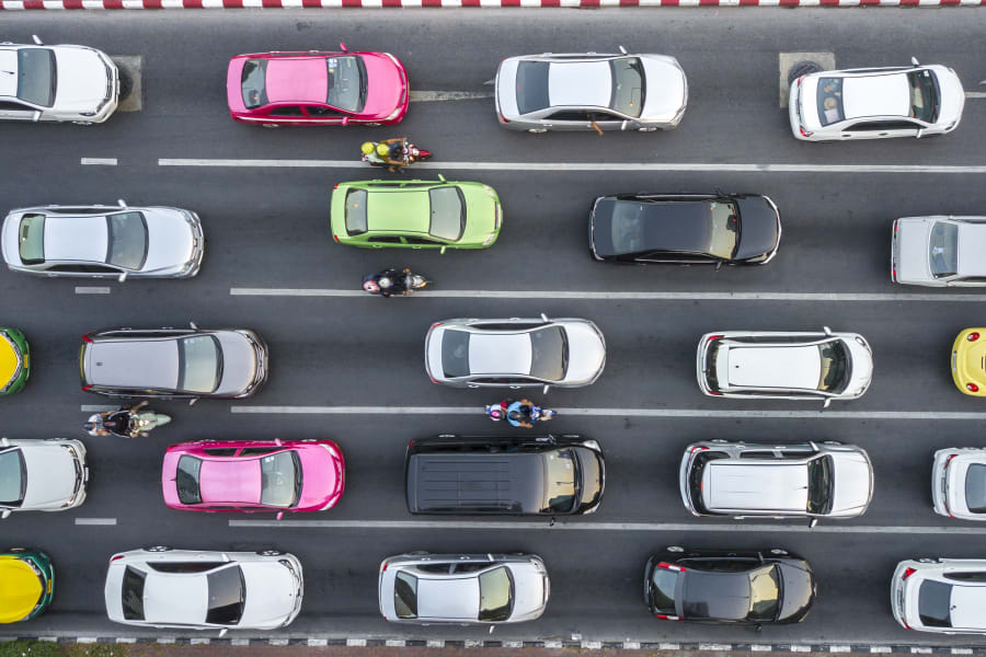 Aeiral view of cars on a highway