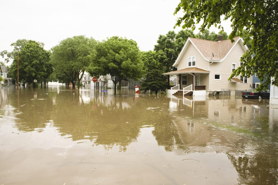 Homes on a flooded street