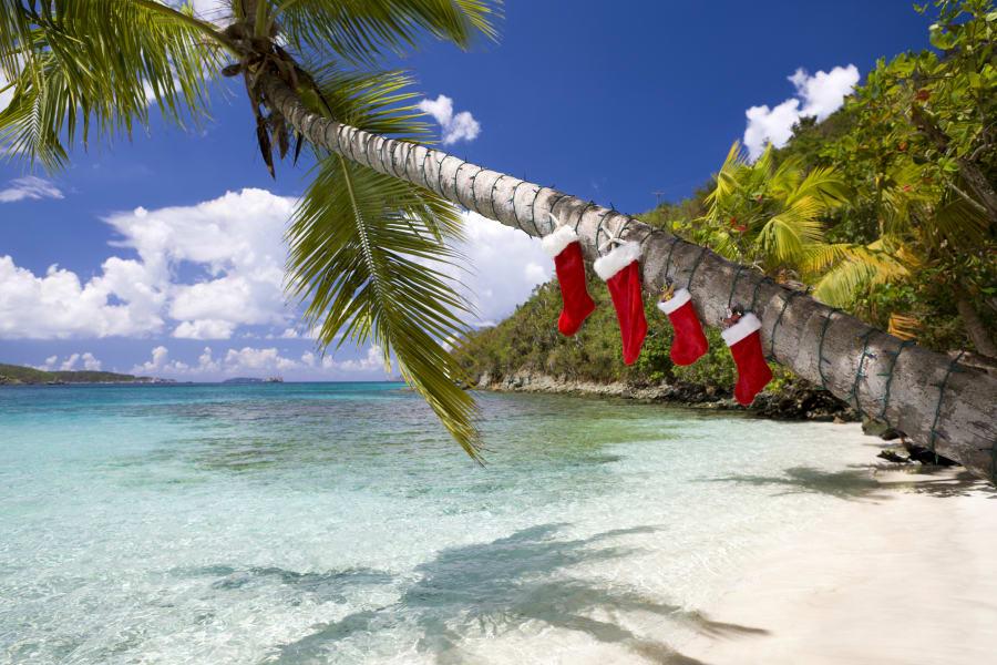 A beachside Christmas scene