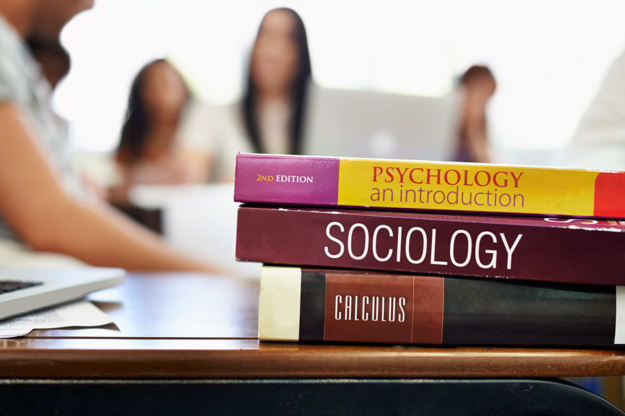 Text books in a university classroom