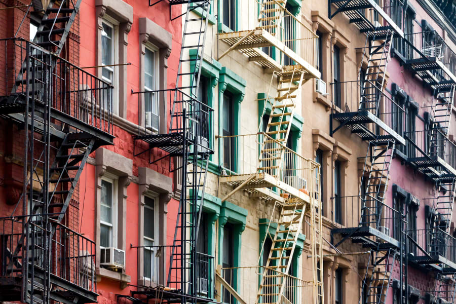 Crowded New York apartment buildings