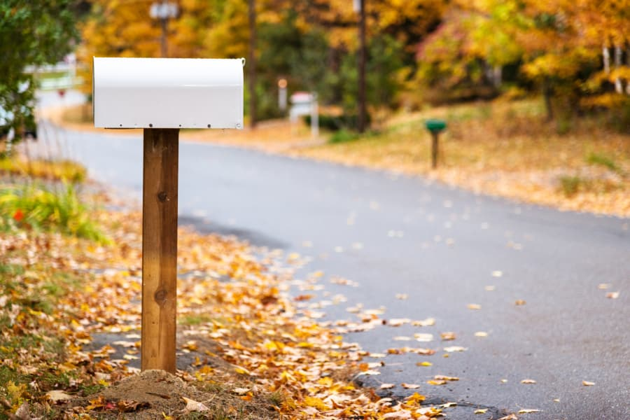 A mailbox outside of a suburban home