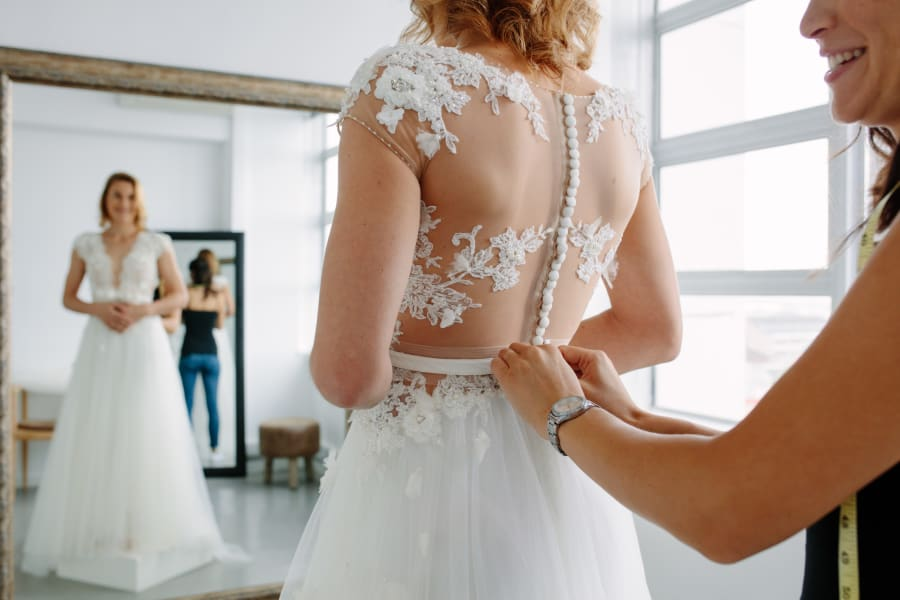 A bride gets ready for her wedding.