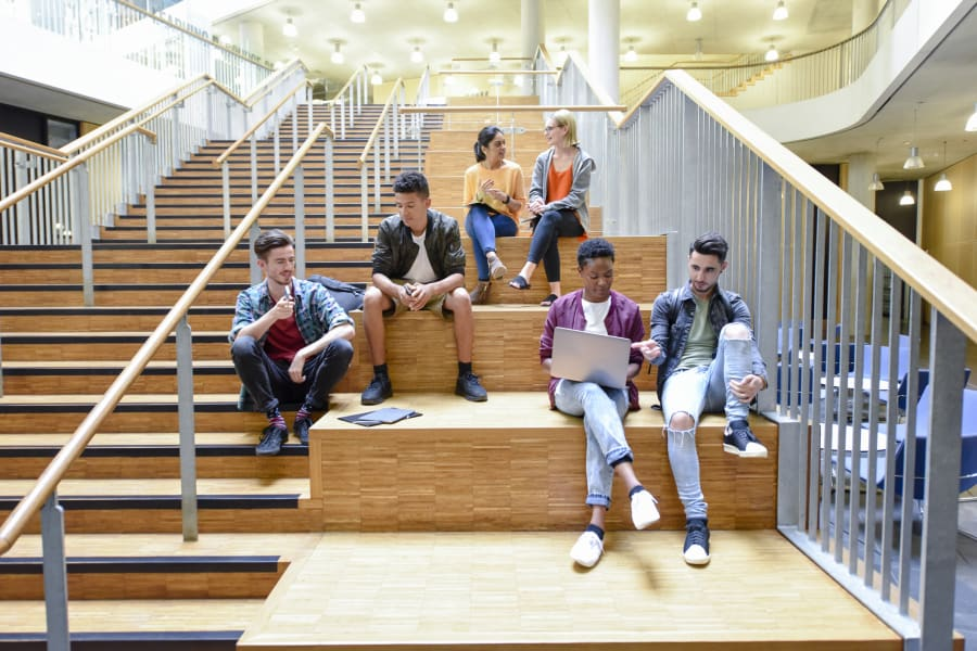A group of Gen Z student hang out in a common area