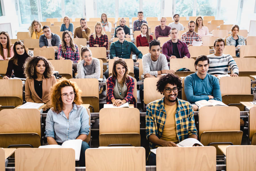 College students in a classroom
