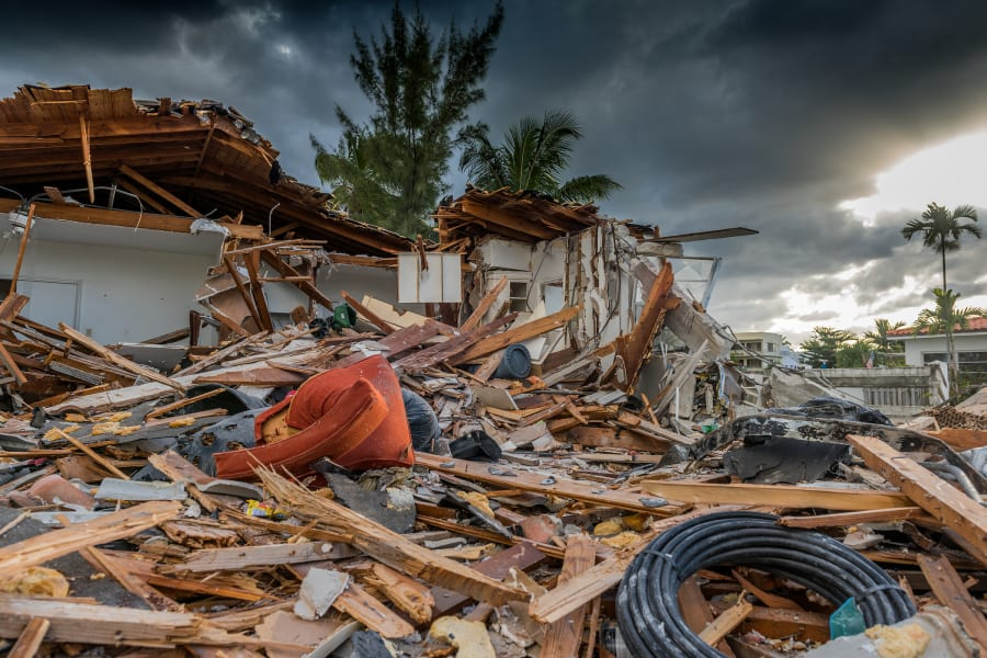 A house destroyed by a hurricane