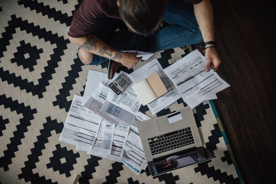 A student reviews their bills.