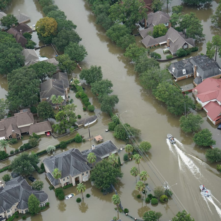A flooded neighborhood of high-priced homes