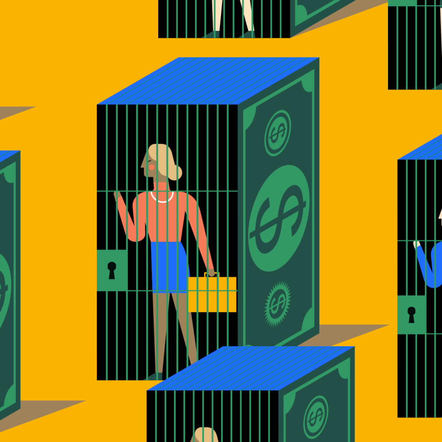 Woman in an income trap