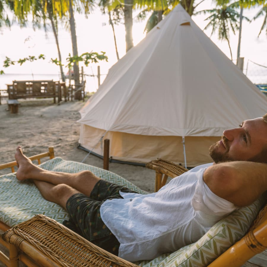 'Glamping' on a beach