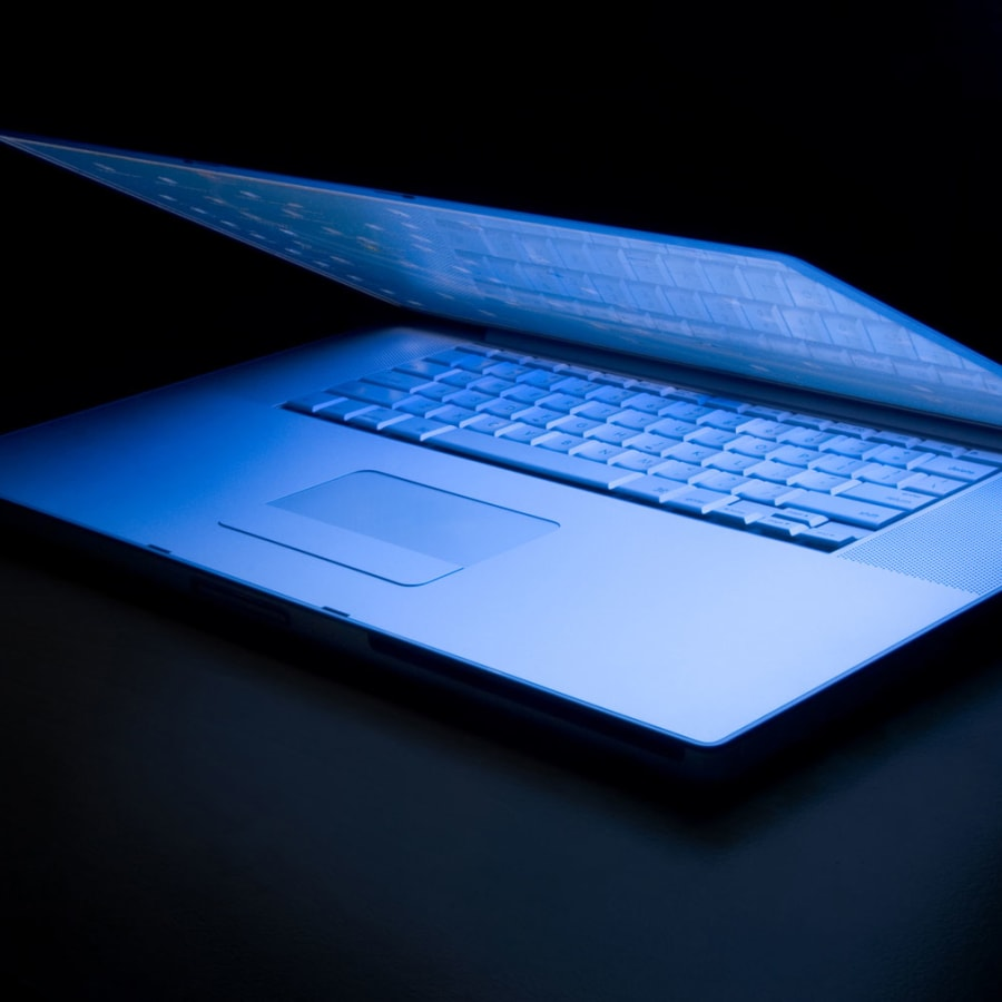 A laptop with a dark background