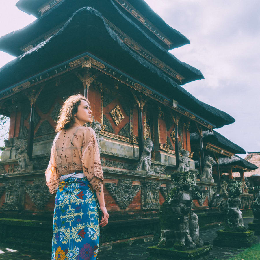 A woman travels in Bali
