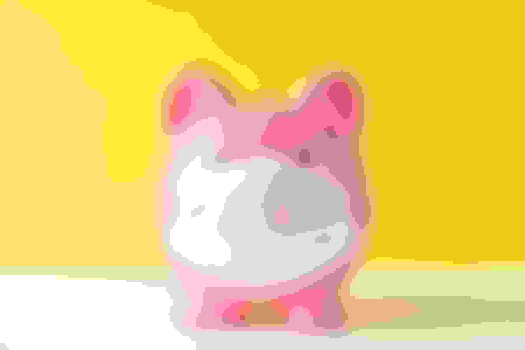 A piggy bank wearing a surgical mask