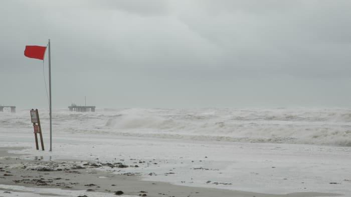 A hurricane approaches the coast.