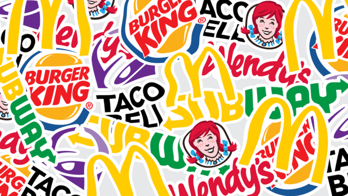 A collage of fast-food logos