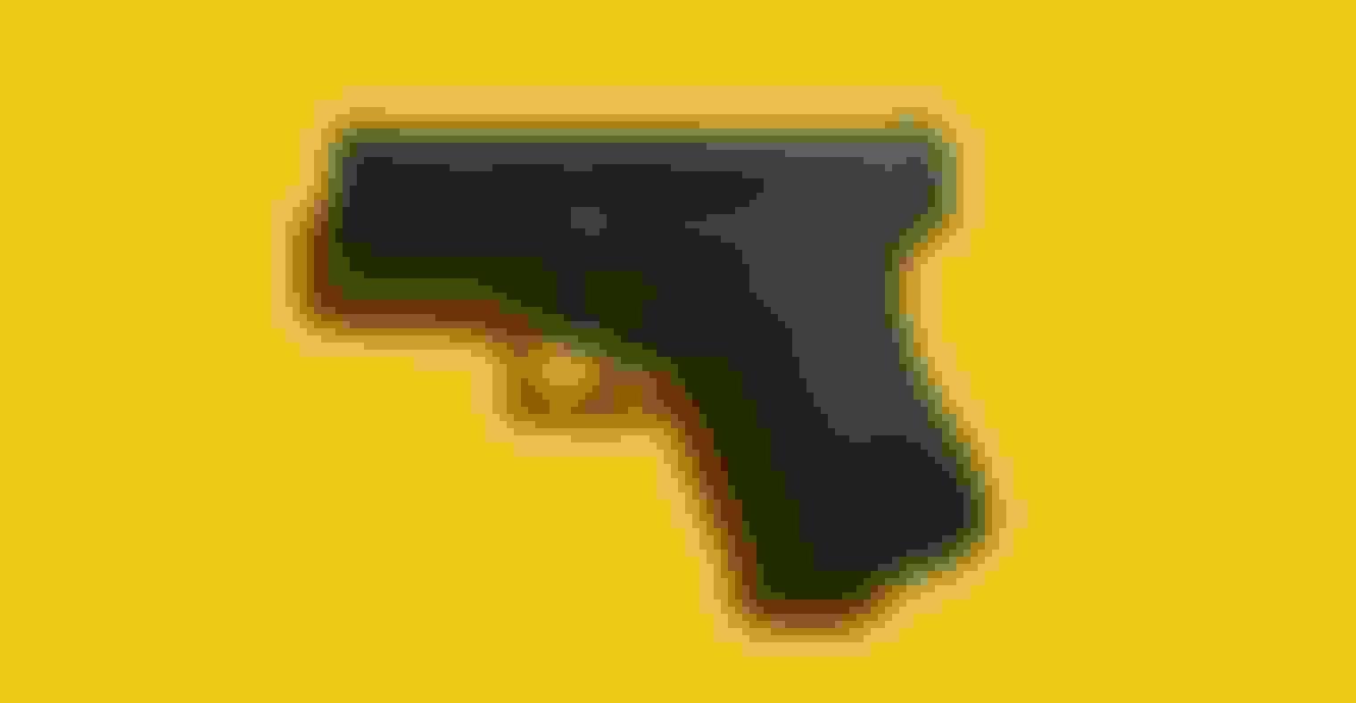 A handgun presented against a yellow background