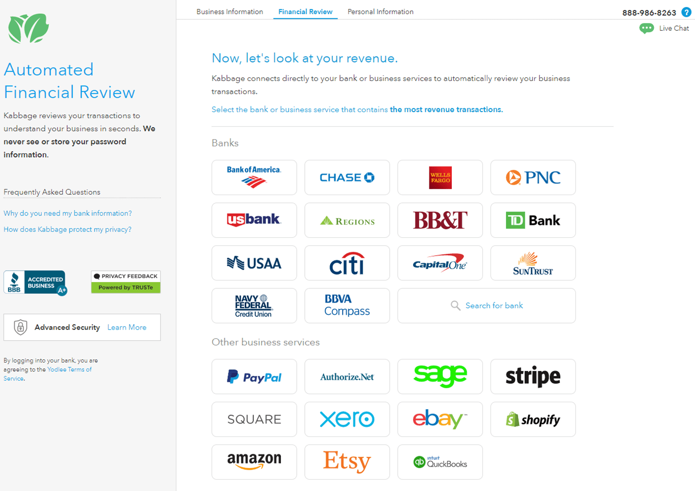Screenshot showing the automated financial review search page at Kabbage