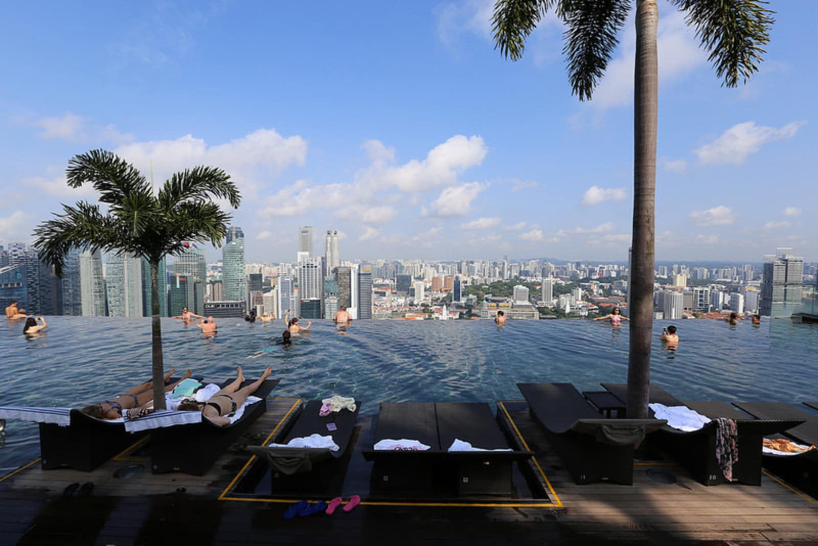 The Marina Bay Sands Hotel infinity pool overlooking the Singapore skyline