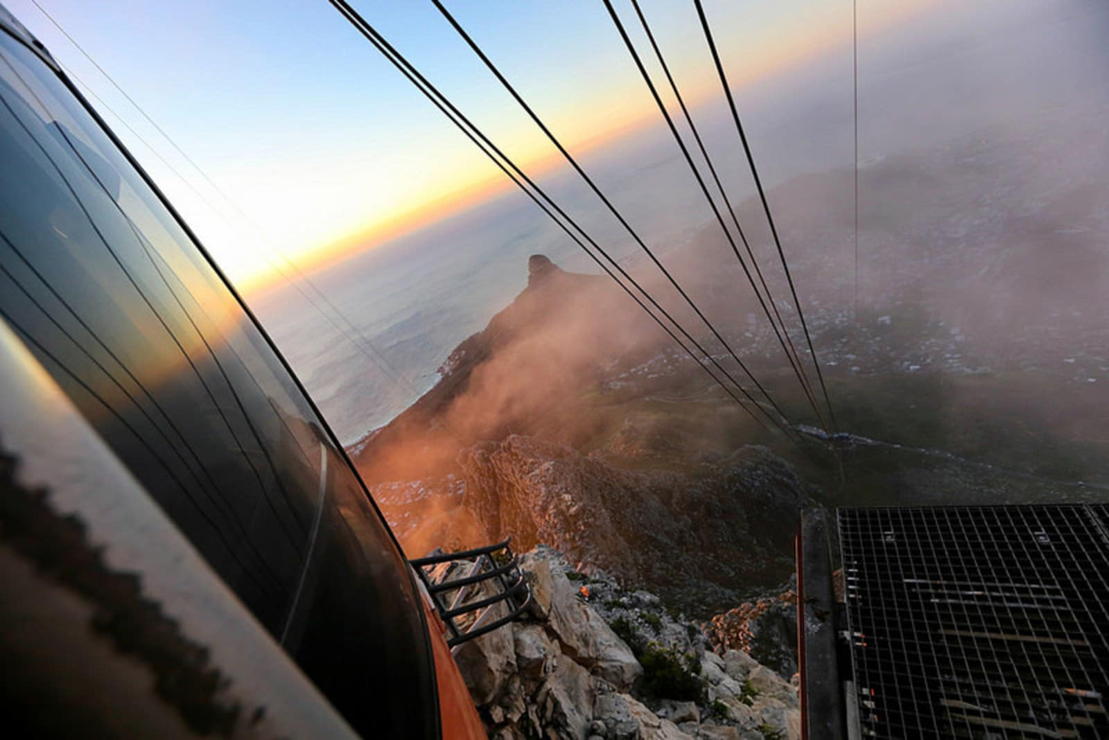 The view from Table Mountain, Cape Town, during sunset