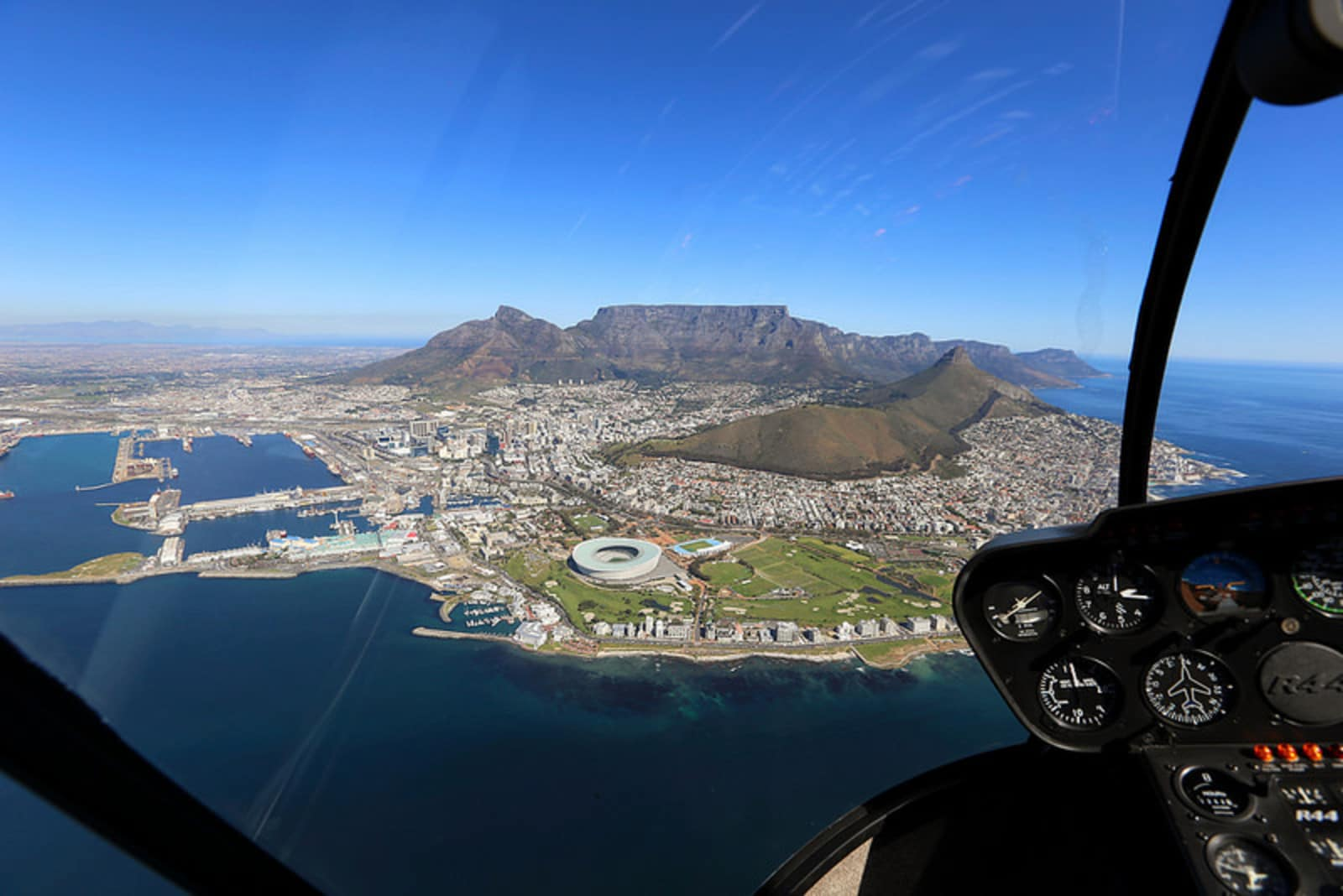 The view of Cape Town from a helicopter