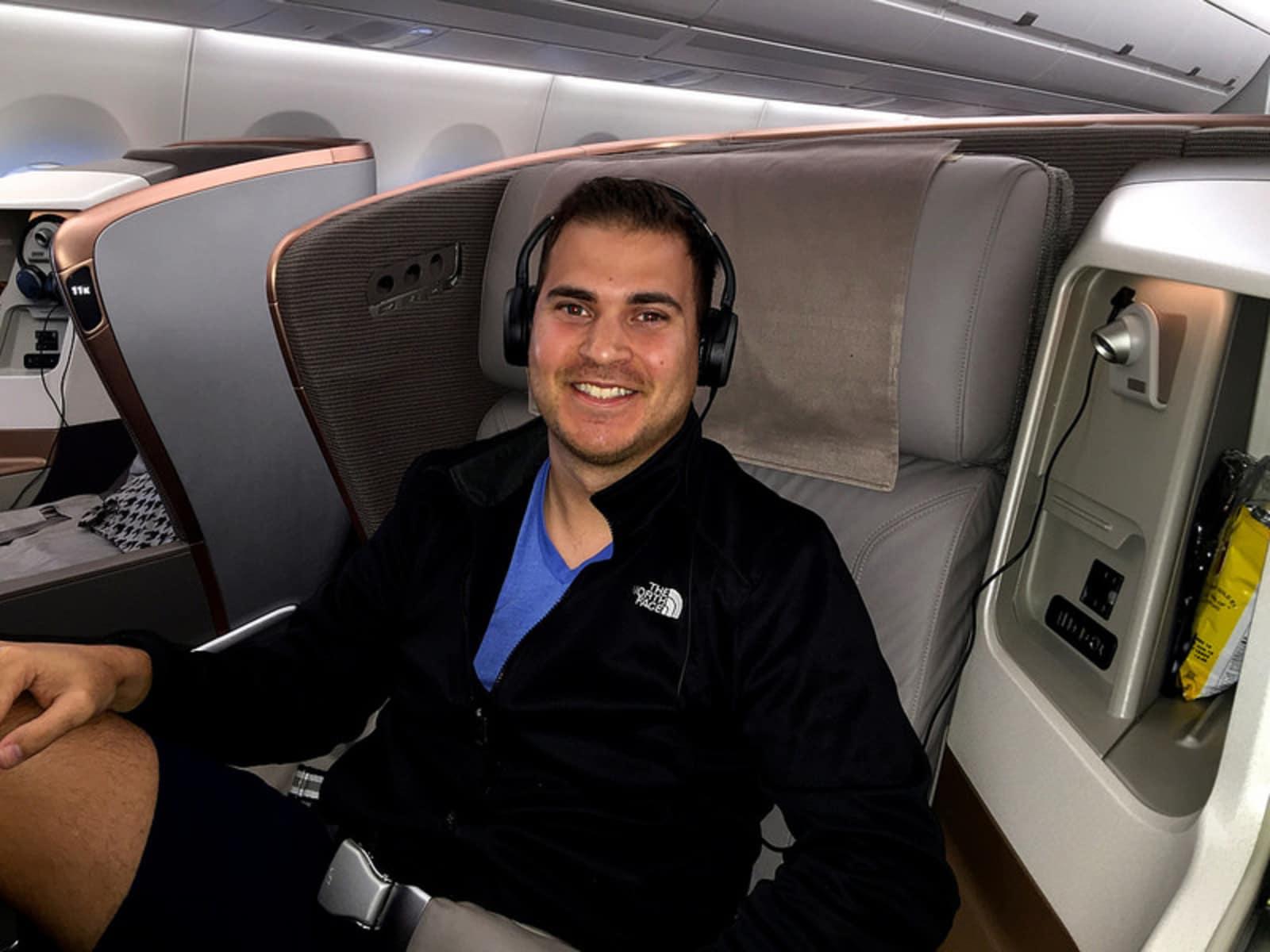Gillaspia's business class flight to Johannesburg