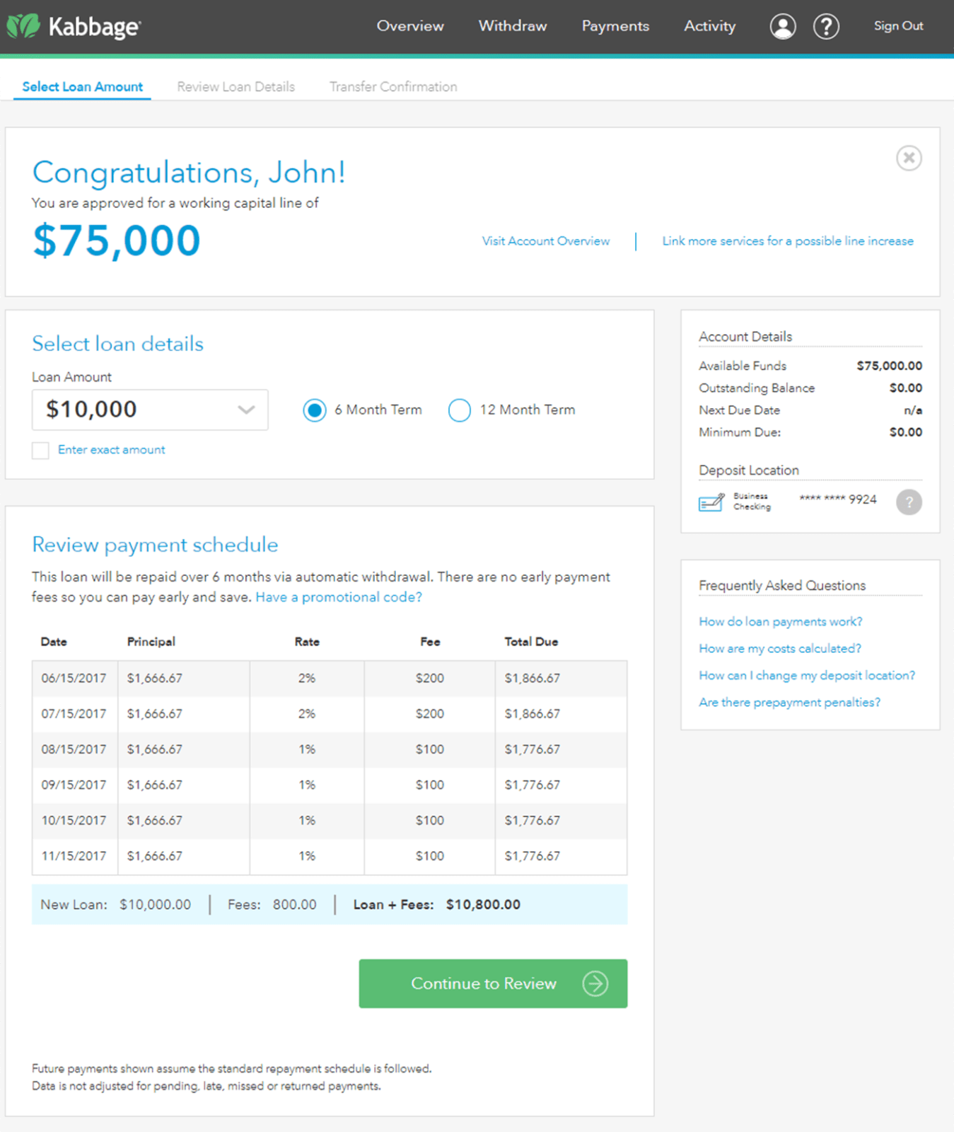 Screenshot showing loan approval and dashboard at Kabbage