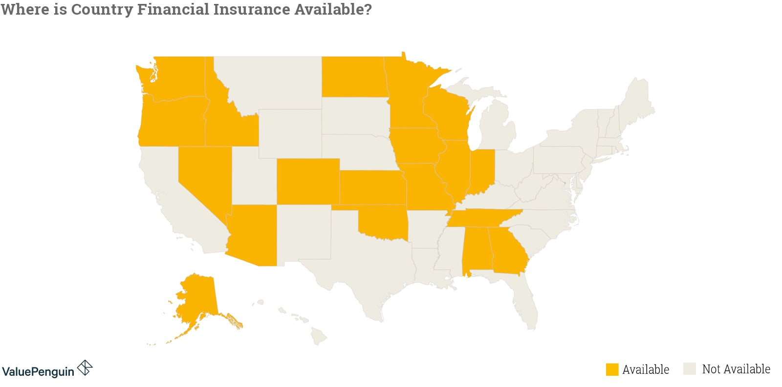 Map shows where Country Financial Insurance is available