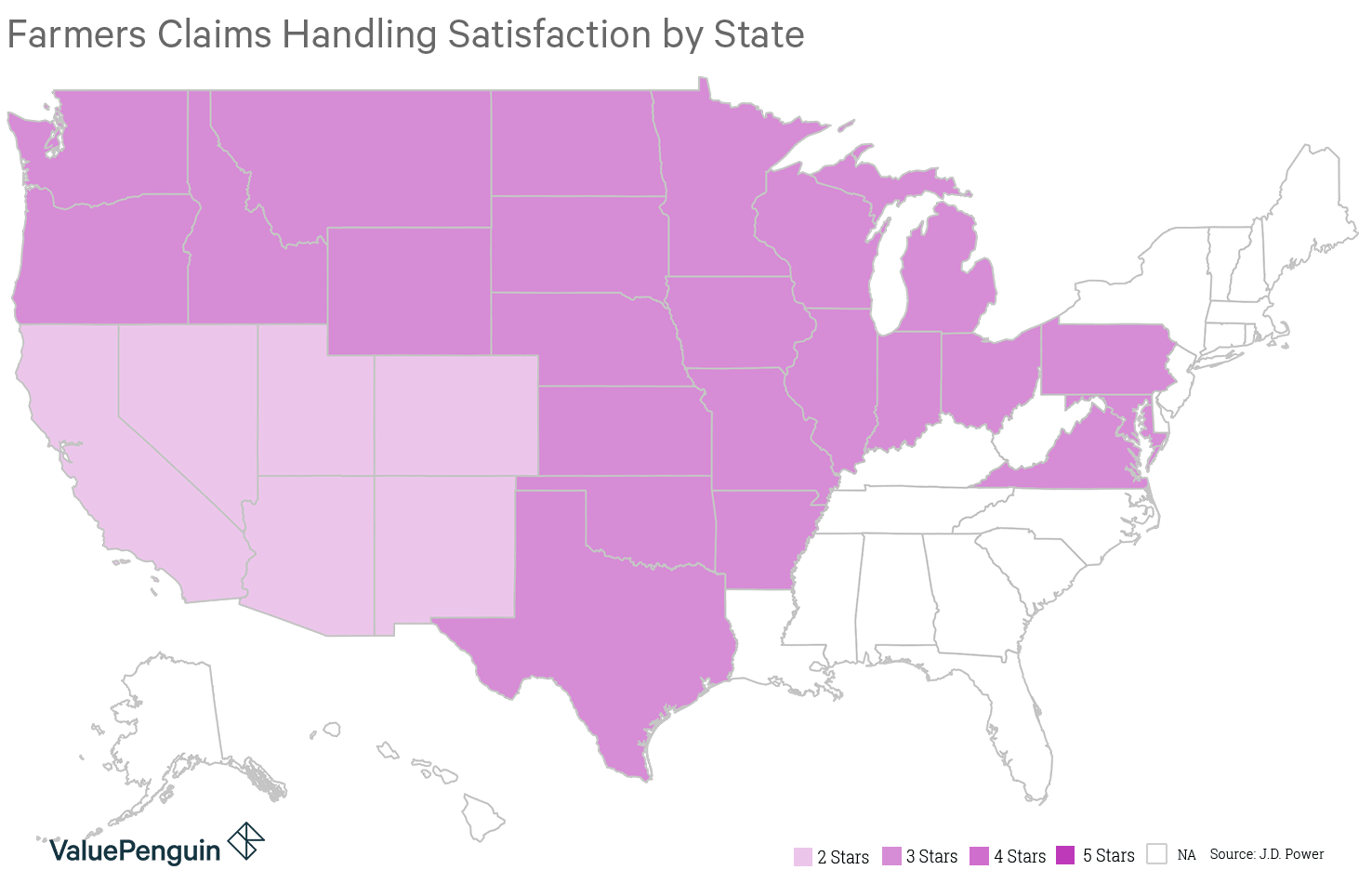 Map shows how Farmers customer satisfaction varies by state