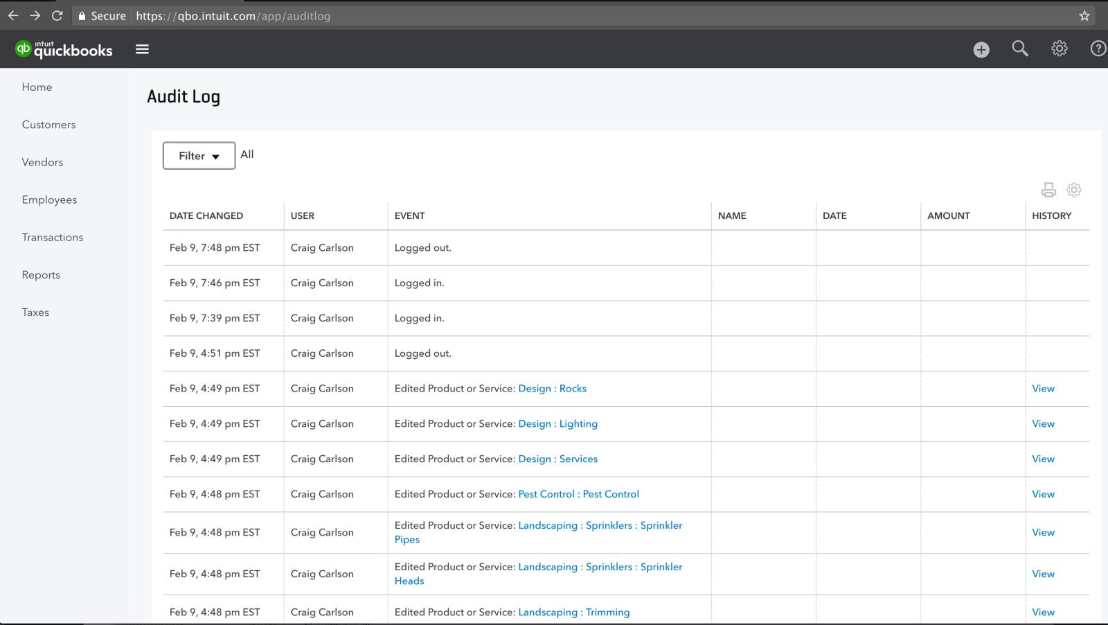 QuickBooks Online Audit Log